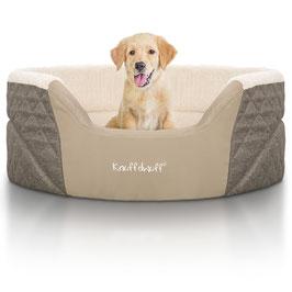Knuffelwuff Orthopädisches Hundebett Lena mit hohem Schaumstoffrand Größe M-XL Braun/Beige