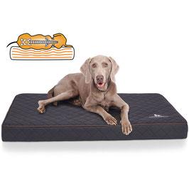 Knuffelwuff Orthopädische Hundematte Juna aus Laser gestepptem Kunstleder Größe L-XXXL in Schwarz