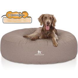 Knuffelwuff Orthopädisches Hundebett Little Rock aus Velour mit Handwebcharakter Beige