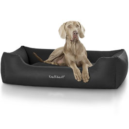 Knuffelwuff Leder Hundebett Sidney Größe M-XXXL schwarz