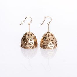 facet bell earrings golden