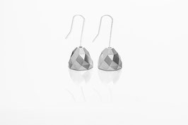 facet bell earrings silver