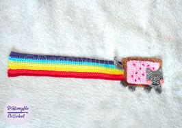 Marque pages Chat Nyancat arc en ciel en coton au crochet