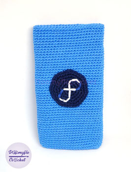 Etui smartphone logo Fedora Linux en coton au crochet; autres coloris et logos Linux au choix