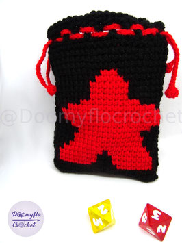 Sac pour jeux de société en fil noir motif meeple de couleur au crochet tunisien, coloris meeple au choix