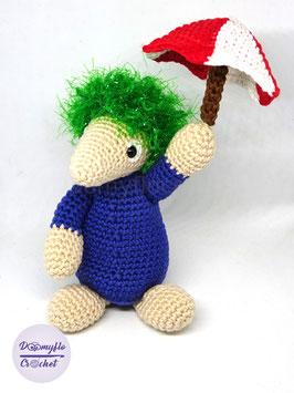 Lemmings avec parapluie amigurumi jeu vidéo en coton au crochet