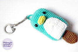 Porte-clés pingouin bleu glace batonnet au crochet