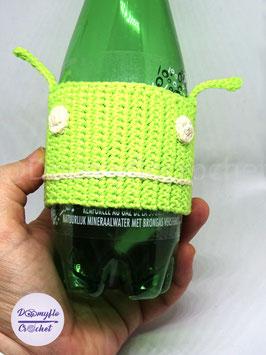 Protege gobelet cozy cup Bugdroid Vert en coton au crochet; inspiration mascotte Android