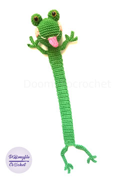 Marque pages grenouille  verte en coton au crochet