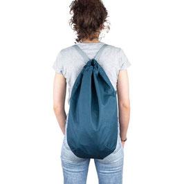 Petrol blauer Seesack / Rucksack / Umhängetasche mit grauem Band