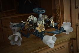 Nádherný maľovaný kovový luster