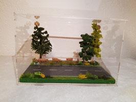 "Diorama in Acrylvitrine ""Strasse gerade"""