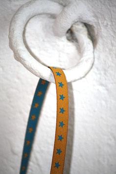 Webband mit Sternchen, meerblau/senfgelb