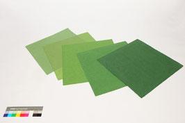 5 Bogen handgeschöpftes Papier aus Abaka, ca. 40 x 40 cm, in Mittelgrüntönen