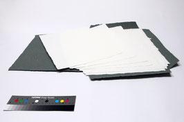 10 Bogen handgeschöpftes Papier aus Baumwolle und Abaka, weiß, DIN A3, in einer Mappe