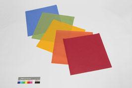 5 Bogen handgeschöpftes Papier aus Abaka, ca. 40 x 40 cm, in Regenbogenfarben