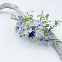 Romantischer Braut Blumenkamm - Blue Flowers