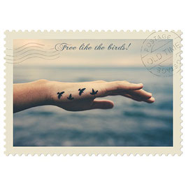 Postkarte Free like the Birds