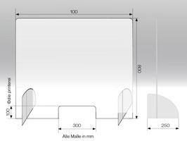 Schutzwand aus Plexiglas® Stecksystem L