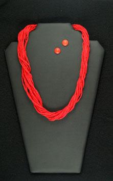 Sinnlich Rote Seidenkette 57 cm lang, mit passenden Holzohrstecker 11 mm Durchmesser