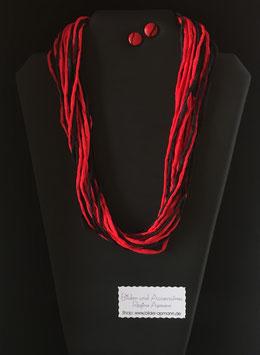 Sinnliche, Rot-Schwarze Seidenkette 57 cm lang, mit passenden Holzohrstecker 11 mm Durchmesser