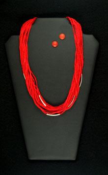 Sinnlich Rote Seidenkette 57 cm, mit silberfarbenen Tuben und  passenden Holzohrstecker, Durchmesser 11 mm