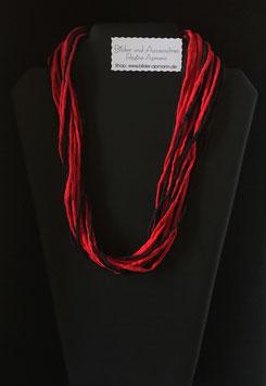 Sinnlich, Rot-Schwarze Seidenkette 57 cm lang