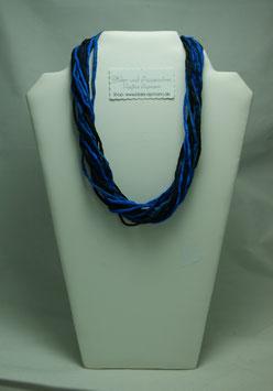 Schwarz-Blaue Seidenkette 58 cm