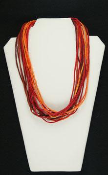 Gelb-Rot-Orange Seidenkette 53 cm