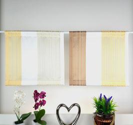 2-teilige moderne Scheibengardine, Kurzgardine ecru / gelb / braun halbtransparent für kleine Fenster