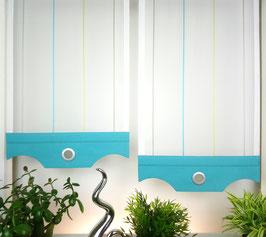 """2-teilige moderne Scheibengardine, Gardine ecru / türkis / grün / grau """"Streifen"""" für kleinere Fenster"""