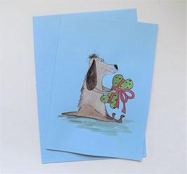 """Karte blau     """"Hund mit Knochengeschenk"""""""