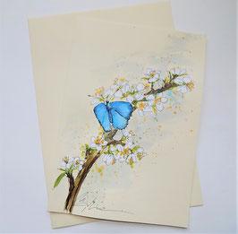 """Karte """"Schmetterling(blau) auf Schleenblüten"""""""