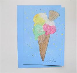 """Karte - blau """" Glacè mit Waffel"""""""