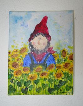 """Gartenzwerg """"Rudi"""" in den Sonnenblumen"""