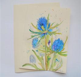 "Karte ""Disteln blau"""