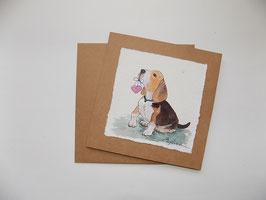 """Karte """" Beagle mit Herz"""""""