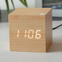 wood cube clock