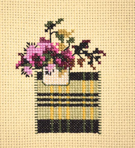 Petit bouquet Pourpre - Broderie point de croix