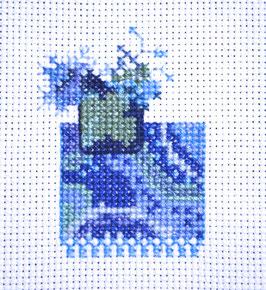 Petit bouquet Bleu - Broderie point de croix