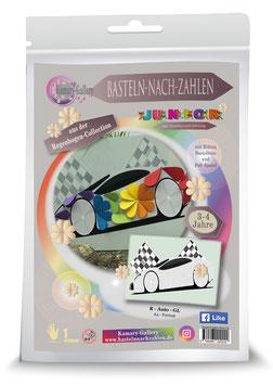 Basteln nach Zahlen Junior Motiv Regenbogen Auto, 21x30 cm - ab 4+6 Jahre* - Art.Nr. BS-R02, Art.Nr. BS-R07