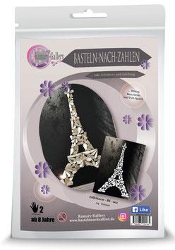Basteln nach Zahlen Motiv Eiffelturm aus Buchseitenpapier, 21x30 cm - ab 8 Jahre* - Art.Nr. BS-018