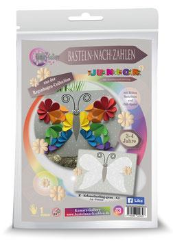 Basteln nach Zahlen Junior Motiv Regenbogen Schmetterling, 21x30 cm - ab 4+6 Jahre* - Art.Nr. BS-R06, Art.Nr. BS-R12
