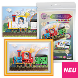Basteln nach Zahlen Junior Motiv Eisenbahn, 21x30 cm - ab 4 + 6 Jahre* - Art.Nr. BS-J25, Art.Nr. BS-J29