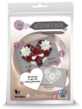 Bastelset zur Hochzeit, Jubiläum oder runder Geburtstag, Herz rot-weiß personalisierbar mit Wunschname und Datum, A4-Format * - Art.Nr. BS-P06