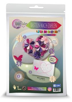 Basteln nach Zahlen Junior Motiv Herz pink, 21x30 cm - ab 4+6 Jahre*- Art.Nr. BS-J05, Art.Nr. BS-J13