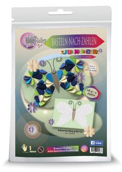 Basteln nach Zahlen Junior Motiv Schmetterling grün, 21x30 cm - ab 4+6 Jahre* - Art.Nr. BS-J08, Art.Nr. BS-J16