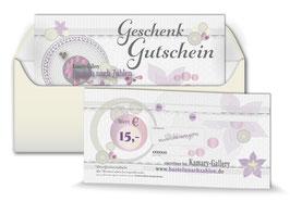 Geschenk-Gutscheine ab 15,00 €   bis  50,00 € -  Art.Nr. GS20-15, Art.Nr. GS20-30