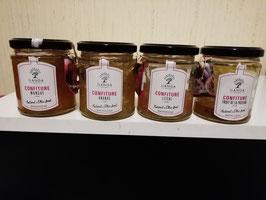 Lot de 4 Confitures Exotiques (Mangue, Ananas, Litchis et Fruit de la Passion) en pot en de 220g