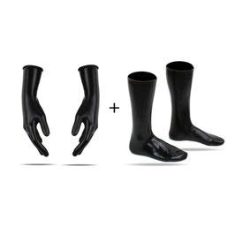 LatexDreamwear -  Handschuhe 3D kurz + Socken Wadenhoch schwarz getaucht 0.4